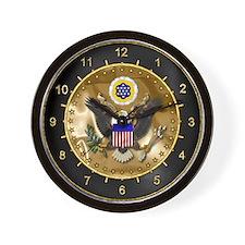 U.S. Seal Wall Clock Black