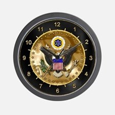 U.S. Seal Wall Clock Black