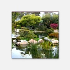 "Japanese Garden Panorama co Square Sticker 3"" x 3"""