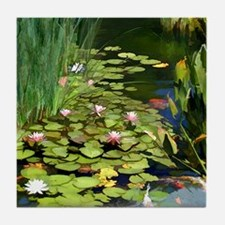 Koi Pond and Water Lilies copy Tile Coaster