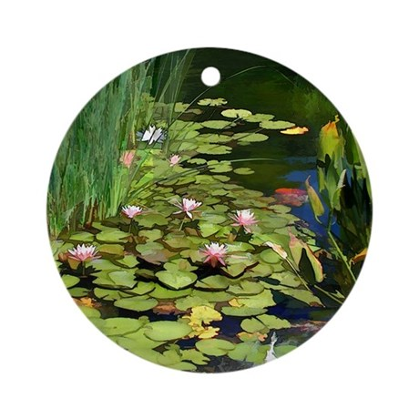 Koi pond and water lilies copy round ornament by admin for Round koi pond