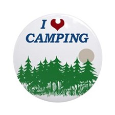 I love camping Round Ornament