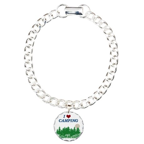 I love camping Charm Bracelet, One Charm