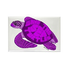 Purple Turtle Rectangle Magnet