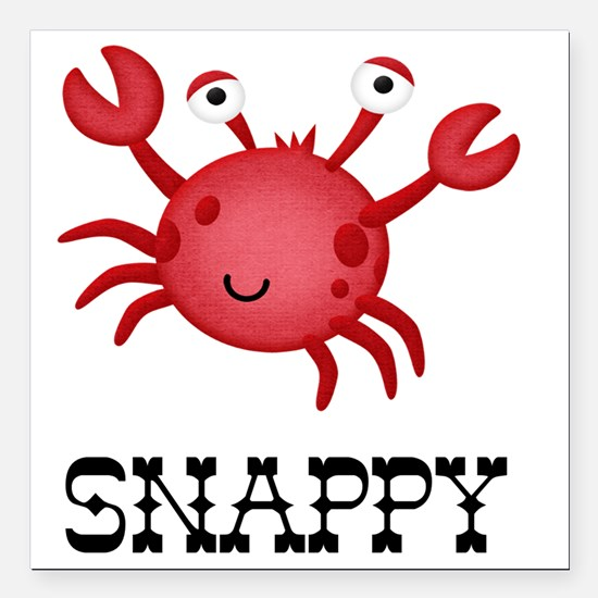 """Snappy Crab Square Car Magnet 3"""" x 3"""""""