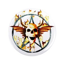 "pentagram devil wingskull burning fire 3.5"" Button"
