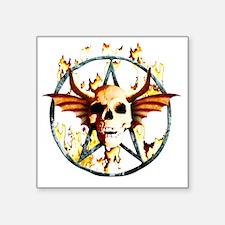 """pentagram devil wingskull b Square Sticker 3"""" x 3"""""""