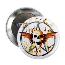 "pentagram devil wingskull burning fir 2.25"" Button"