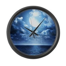 Night Ocean Large Wall Clock
