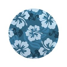 "Blue Hibiscus 3.5"" Button"