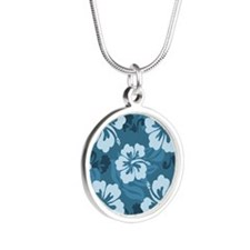 Blue Hibiscus Silver Round Necklace