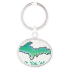 Wish For UP Oval Keychain