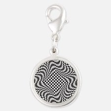 Optical Check Silver Round Charm