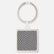 Optical Check Square Keychain