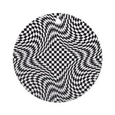 Optical Check Round Ornament