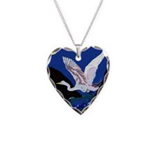 White Crane Spreads Its Wings Necklace Heart Charm