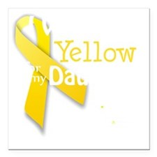 """trans_i_wear_yellow_for_ Square Car Magnet 3"""" x 3"""""""