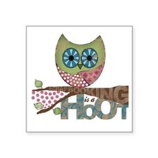 """Scrapbooking is a Hoot! Fea Square Sticker 3"""" x 3"""""""