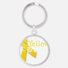 I Wear Yellow for my Brother transp Round Keychain