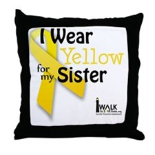i_wear_yellow_for_my_sister_updated Throw Pillow