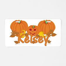 Halloween Pumpkin Kelsey Aluminum License Plate