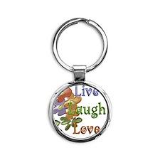 Live Laugh Love Round Keychain