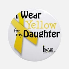 i_wear_yellow_for_my_daughter_updat Round Ornament