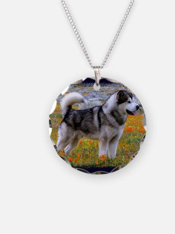 Alaskan malamute in a field  Necklace