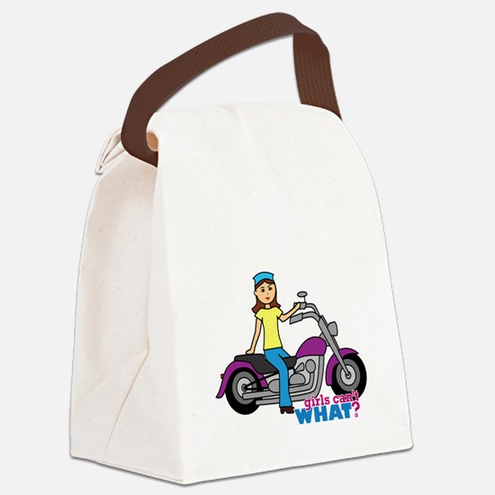 Biker Girl Canvas Lunch Bag