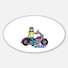 Biker Girl Sticker (Oval)