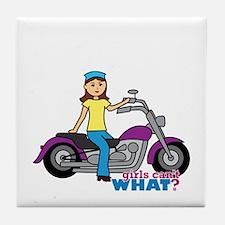 Biker Girl Tile Coaster