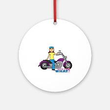 Biker Girl Ornament (Round)