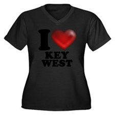 I Heart Key  Women's Plus Size Dark V-Neck T-Shirt