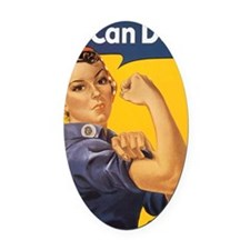 We Can Do It Oval Car Magnet