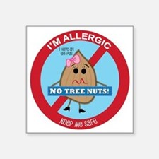 "Tree Nut Allergy - Girl Square Sticker 3"" x 3"""