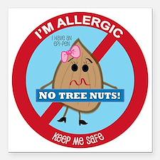 "Tree Nut Allergy - Girl Square Car Magnet 3"" x 3"""