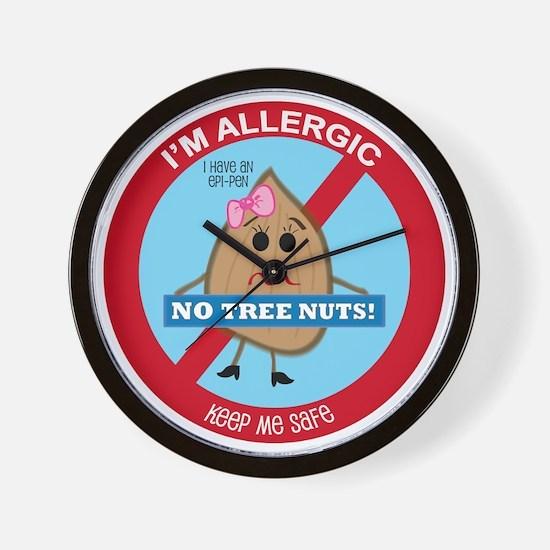 Tree Nut Allergy - Girl Wall Clock