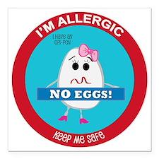"""Egg Allergy - Girl Square Car Magnet 3"""" x 3"""""""