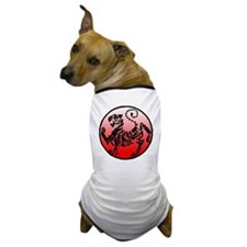 shotokan - black tiger on red and whit Dog T-Shirt