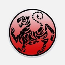 shotokan - black tiger on red and w Round Ornament