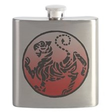 shotokan - black tiger on red and white Flask