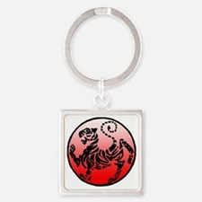 shotokan - black tiger on red and  Square Keychain