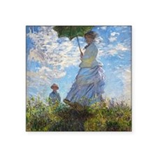 "Woman with a Parasol Square Sticker 3"" x 3"""