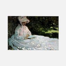 Claude Monet Woman Reading Rectangle Magnet