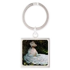 Claude Monet Woman Reading Square Keychain
