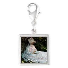 Claude Monet Woman Reading Silver Square Charm
