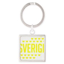 Sveriges kronor Square Keychain