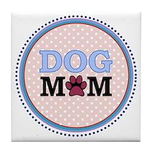 Dog Mom - blue Tile Coaster