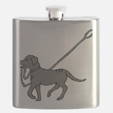 Black and white dog with leash in mouth Flask