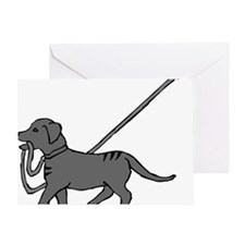 Black and white dog with leash in mo Greeting Card
